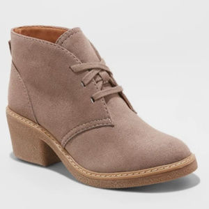 Women's Lucia Microsuede Lace-Up Heeled Ankle Boot